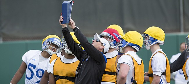 KU football coach David Beaty instructs his players during spring football practice on Thursday, March 26, 2015.