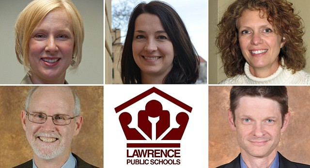 2015 Lawrence school board election winners, top row, from left: Shannon Kimball, Jessica Beeson, Jill Fincher. Bottom row, from left: Rick Ingram, Marcel Harmon.