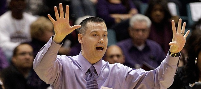 Stephen F. Austin coach Brandon Schneider during the first half of the Southland Conference basketball tournament championship game against the McNeese State Friday, March 9, 2012, in Katy, Texas.