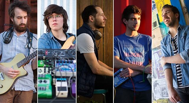 Lawrence musicians, from left, Chris Luxem, Taryn Miller, Mark Osman, James Thomblison and John Benda.