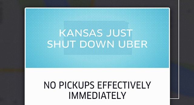 A screenshot of the Uber app in Kansas, as of 3:09 p.m. Tuesday, May 5, 2015.