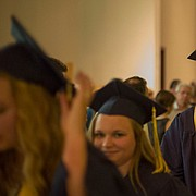 Veritas graduating senior Drake Napier follows his fellow graduates to the reception party  during the 2015 Veritas Christian School Commencement Ceremony Sunday afternoon at First Christian Church, 1000 Kentucky St.