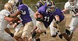 In this file photo from Oct. 22, 2011, Haskell Indian Nations University running back Brandon Beaton (11) runs the ball against the St. Francis College Saints.