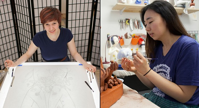Lawrence Arts Center artists in residence, from left, Tonja Torgerson and Gunyoung Kim