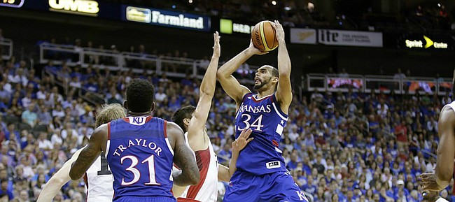 Kansas forward Perry Ellis (34) drives to the basket in a 91-83 Team USA exhibition game win against Canada Tuesday, June 23, at the Sprint Center in K.C., MO.