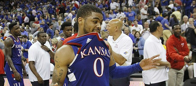Kansas guard Frank Mason III (0) celebrates at the end of a 91-83 Team USA exhibition game win against Canada Tuesday, June 23, at the Sprint Center in K.C., MO.