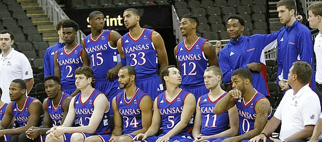 Members of Team USA prepare to have a team photo taken before the tip off of the squads exhibition game against Canada Tuesday, June 23, at the Sprint Center in K.C., MO. The KU squad will have another exhibition game  against Canada Friday before heading to South Korea for the World University Games in Gwangju, Korea.