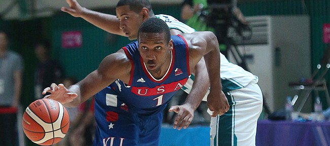 Kansas guard Wayne Selden Jr. breaks away from a defender in a Team USA 81-72 win over against Brazil Sunday, July 5, in Gwangju, South Korea.