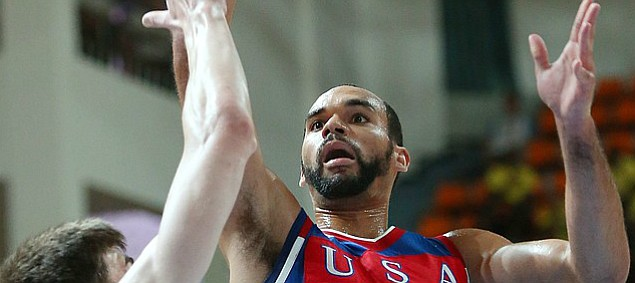 Kansas forward Perry Ellis (34) puts up a shot in Team USA's 78-68 semifinal victory against Russia on Sunday, July 12, 2015, at the World University Games in South Korea.