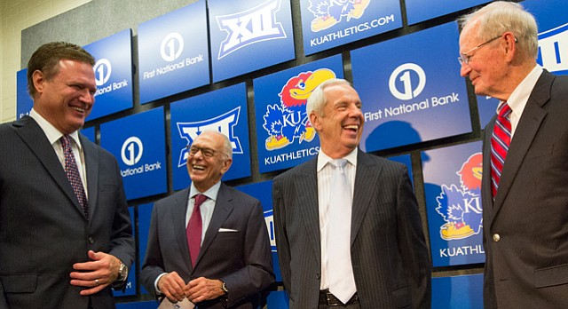 Kansas head basketball coach Bill Self, and former coaches Larry Brown, Roy Williams and Ted Owens have a laugh while talking shop in preparation for the 60th Anniversary celebration of Allen Fieldhouse on Monday, Oct. 27, 2014.