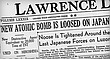 The front page of the Lawrence Daily Journal-World on Monday, Aug. 6, 1945.