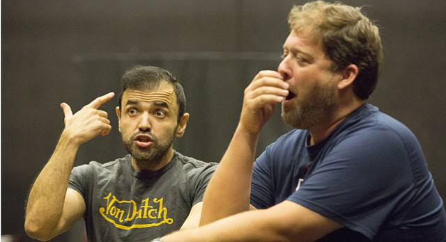 "Hugo Vera, left, and Andrew Stuckey rehearse for Lawrence Opera Theatre's upcoming production of ""La Damnation de Carmen"" on Tuesday, Aug. 4, 2015 at Theatre Lawrence, 4660 Bauer Farm Drive."