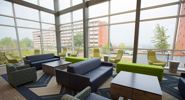 A student lounge inside Daisy Hill Commons.