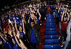 Kansas fans in the northern student section sing the Alma Mater before tipoff against Alcorn State during the first half, Wednesday, Dec. 2, 2009 at Allen Fieldhouse.