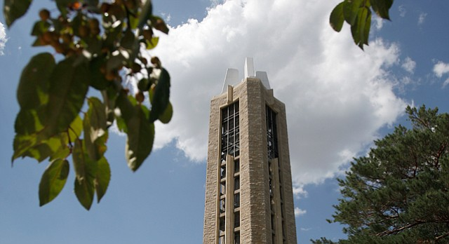 The World War II Memorial Carillon and Campanile on the Kansas University campus.