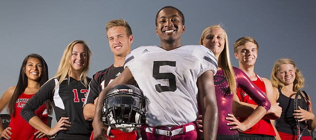 Lawrence High seniors pictured from left, Shaye White, cross country; Caroline Dykes, volleyball; Piper Hubbell, soccer; Ivan Hollins, football; Ashley Ammann, gymnastics; Nathan Pederson, cross country; and Caroline Baloga, tennis, are aiming to be integral roles for their teams' success in the fall sports season.