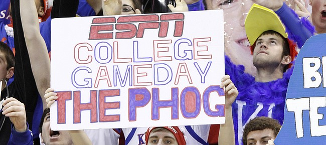 KU fans participate in the ESPN College Game Day show in this photo from February 16, 2013, in Allen Fieldhouse.