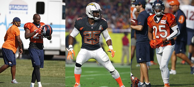 Former Kansas University defensive backs in the pro ranks include Pro Bowlers, from left, Aqib Talib (Denver), Darrell Stuckey (San Diego) and Chris Harris (Denver).