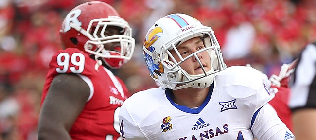 Kansas long snapper Jordan Goldenberg (64) watches a field goal during the Jayhawks' 27-14 loss to Rutgers on Saturday, Sept. 26, 2015 at High Point Solutions Stadium in Piscataway, New Jersey.