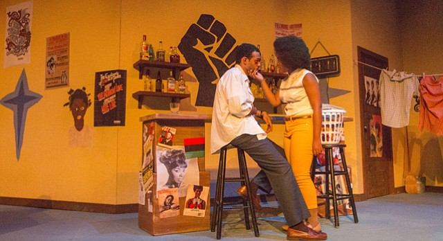 "Zechariah Williams, left, and Brianna Woods run through a scene during a dress rehearsal Tuesday, Sept. 29, 2015 at Murphy Hall for the upcoming production of ""Detroit '67"" by KU Theatre."
