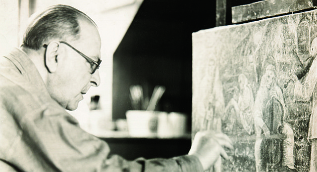 "Artist and Kansas University professor Albert Bloch is pictured in his Lawrence studio in 1958. A new exhibit at the Lawrence Arts Center, ""Albert Bloch: Themes and Variations"" featured never-before-displayed work recovered recently from Bloch's former studio. The exhibit runs through Jan. 2."