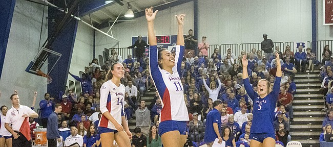 Kansas' Madison Rigdon (14), Ainise Havili (11) and Cassie Wait (5) celebrate a point during their volleyball match against Iowa State Saturday afternoon at the Horejsi Center. The Jayhawks swept the Cyclones, 3-0, to remain a perfect 17-0 on the year. The tenth ranked Jayhawks will next face Baylor on Wednesday evening in Waco.