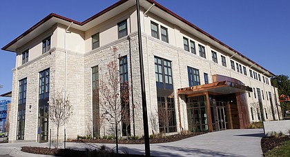 The $11.2 million McCarthy Hall houses the Kansas men's basketball team to the southeast of Allen Fieldhouse on KU's campus.