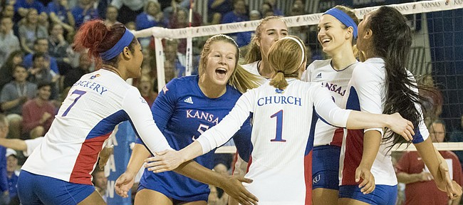 Kansas players, from left, Tiana Dockery, Cassie Wait, Madison Rigdon, Anna Church, Tayler Soucie and Ainise Havili celebrate after scoring a point during their volleyball match against Oklahoma Wednesday evening at the Horejsi Center. The Jayhawks swept the Sooners, 3-0, and improved their record to a perfect 19-0 on the year. On Friday, No. 7 Kansas travels to Austin to take to face the No. 2 Texas Longhorns.