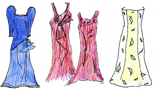 """3D Red"" illustration by Sandy Hazlett from her book of poems entitled ""The Prom Dress Room"""