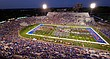 The Kansas University marching band and many other high school bands from Kansas and Missouri perform during the halftime show as part of Band Day on Saturday, Sept. 12, 2015 at Memorial Stadium.