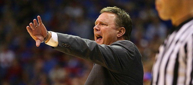 Kansas head coach Bill Self directs his offense during the second half on Wednesday, Nov. 4, 2015 at Allen Fieldhouse.