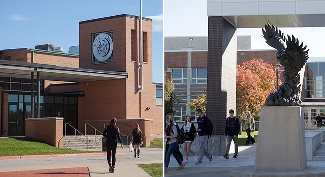 Lawrence High School, left, and Free State High School are pictured on Friday, Nov. 6, 2015.