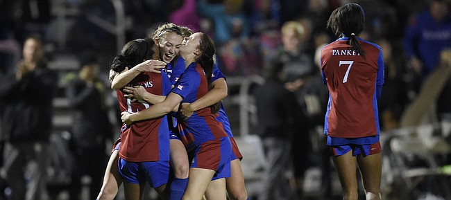 Kansas celebrates a goal int the first half of a 2-0 Big 12 soccer tournament victory over Baylor on Friday, Nov. 6, 2015, in Kansas City, Mo.