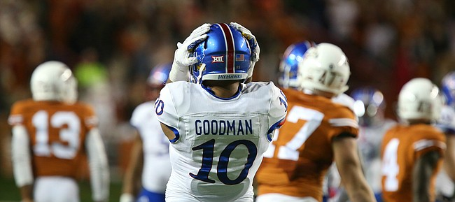 Kansas defensive end Ben Goodman (10) bemoans a missed opportunity for a sack during the second quarter on Saturday, Nov. 7, 2015 at Darrell K. Royal Stadium in Austin, Texas.
