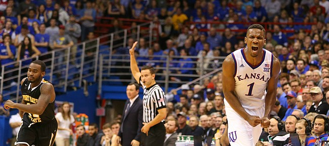Kansas guard Wayne Selden Jr. (1) reacts after narrowly missing a steal that went out of bounds during the second half, Tuesday, Nov. 10, 2015 at Allen Fieldhouse.
