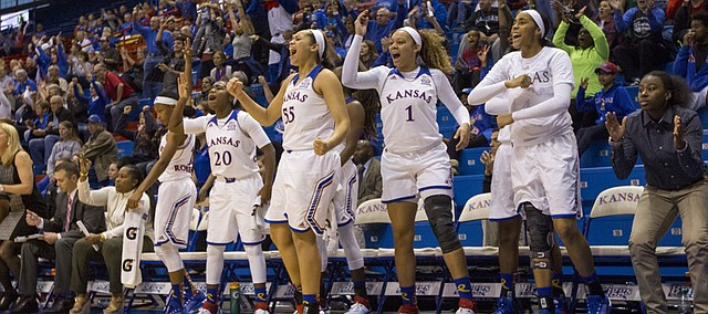 The Kansas bench makes some noise as the Jayhawks regain the lead during their game against Texas Southern Sunday afternoon at Allen Fieldhouse.