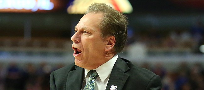Tom Izzo rips into an official during the first half, Tuesday, Nov. 17, 2015 at United Center in Chicago.