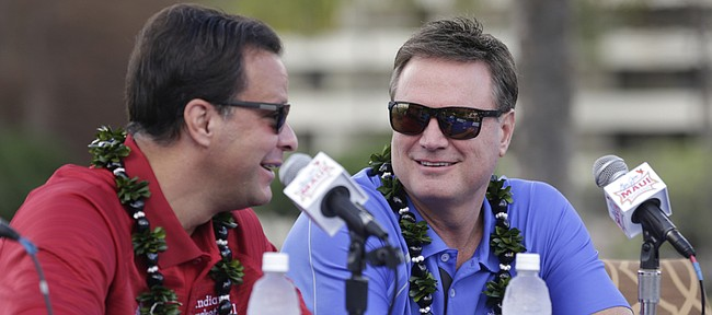 Kansas head coach and Indiana head coach Tom Crean have a laugh before a press conference with the rest of the Maui Invitational coaches on Sunday, Nov. 22, 2015 outside the Sheraton Maui.