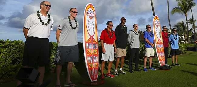 Kansas head coach Bill Self, third from the right, is pictured with the other 2015 Maui Invitational coaches as they gather for a photograph following a press conference on Sunday, Nov. 22, 2015 outside the Sheraton Maui. At left is Kevin Stallings, Vanderbilt, Chris Mullin, St. John's, Tom Crean, Indiana, Danny Manning, Wake Forest, Eric Bovaird, Chaminade. Right of Self are Dave Rice, UNLV and Steve Alford, UCLA.