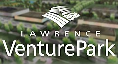 This composite image from promotional materials shows a logo and rendering of Lawrence Venture Park.