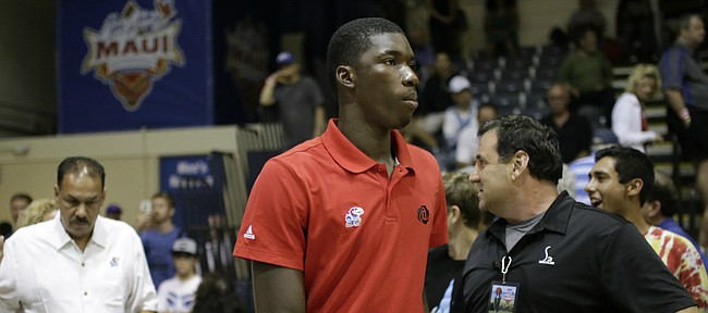 Kansas freshman forward Cheick Diallo walks out with the Jayhawks for warmups, Tuesday, Nov. 24, 2015 at Lahaina Civic Center in Lahaina, Hawaii.