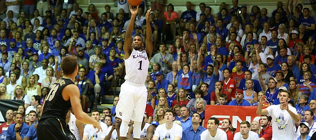 Kansas guard Wayne Selden Jr. (1) puts up a three from the corner against Vanderbilt during the second half, Wednesday, Nov. 25, 2015 at Lahaina Civic Center in Lahaina, Hawaii.
