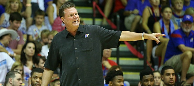 Kansas head coach Bill Self gets on his defense during the second half, Monday, Nov. 23, 2015 at Lahaina Civic Center in Lahaina, Hawaii.