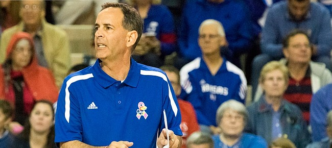 Kansas University Volleyball coach Ray Bechard signals to his team against West Virgina on Oct. 3 at the Horejsi Center. On Monday Bechard, who led the Jayhawks to a 26-2 record and No. 9 national ranking, was named Big 12 Coach of the Year.