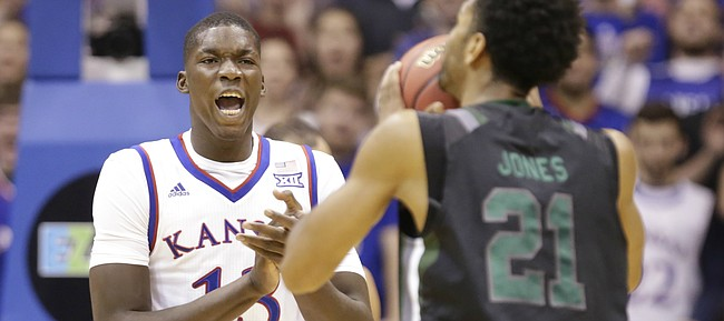 Kansas forward Cheick Diallo (13) celebrates a Loyola turnover during the second half, Tuesday, Dec. 1, 2015 at Allen Fieldhouse.