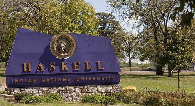 The Haskell Indian Nations University campus entrance is pictured in this file photo from September 2010.