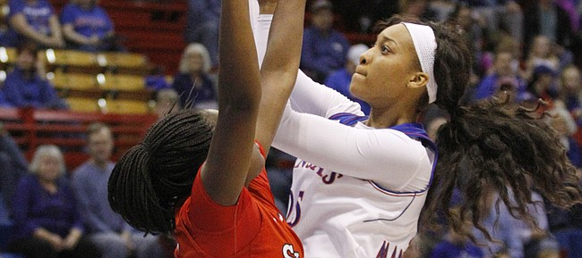 Caelynn Manning-Allen shoots a basket for 2 of her first-half points in an 86-71 loss to St. John's Sunday at Allen Fieldhouse.