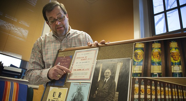 Michael Zogry, KU associate professor in the department of religious studies, who discovered the only known audio recording of James Naismith, talks about some of the many items in his Naismith collection.