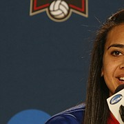 Kansas University volleyball player Ainise Havili talks to the media on Wednesday, Dec. 16, 2015. in Omaha, Nebraska.