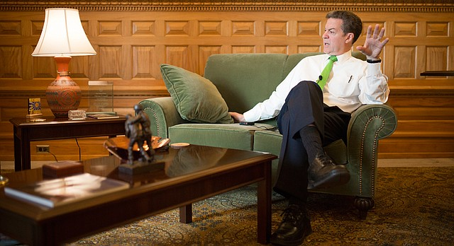 Gov. Sam Brownback answers questions during a year-end, sit-down interview on Dec. 8, 2015, in his office at the Statehouse in Topeka.